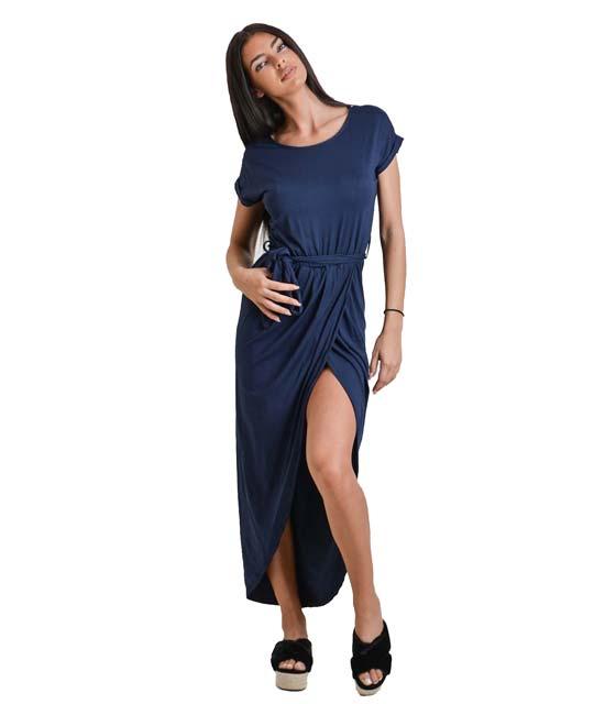 Ασσύμετρο φόρεμα με ζώνη (Μπλε)