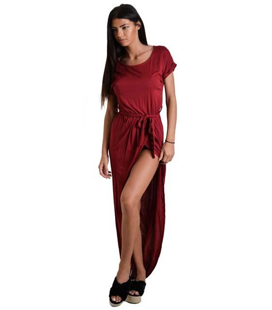 Ασσύμετρο φόρεμα με ζώνη (Μπορντό)