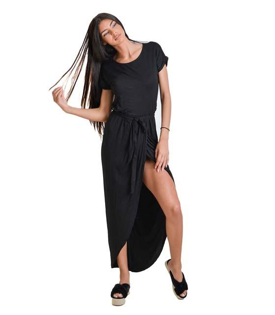 Ασσύμετρο φόρεμα με ζώνη (Μαύρο)