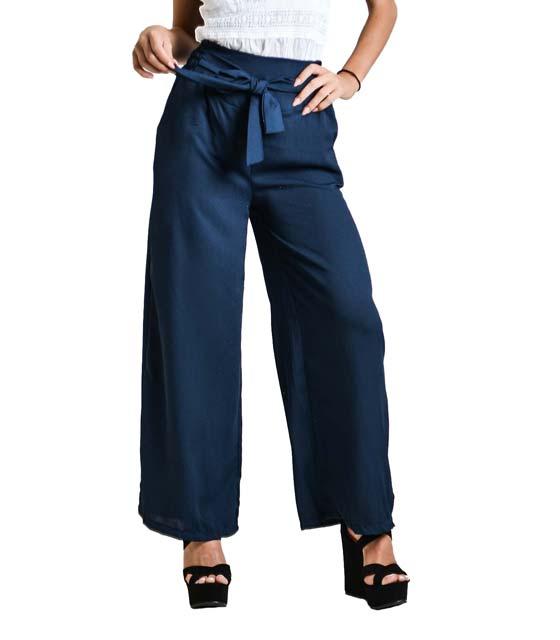 Παντελόνα με λεπτομέρεια ζώνη (Μπλε)