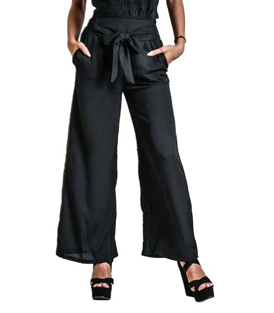 Παντελόνα με λεπτομέρεια ζώνη (Μαύρο) ρούχα   bottoms   παντελόνια