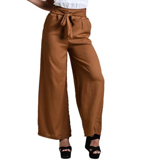 Παντελόνα με λεπτομέρεια ζώνη (Καφέ)