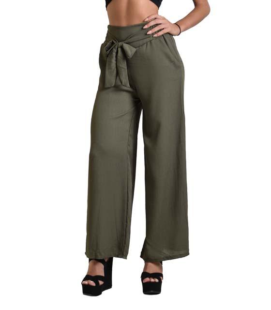 Παντελόνα με λεπτομέρεια ζώνη (Χακί)