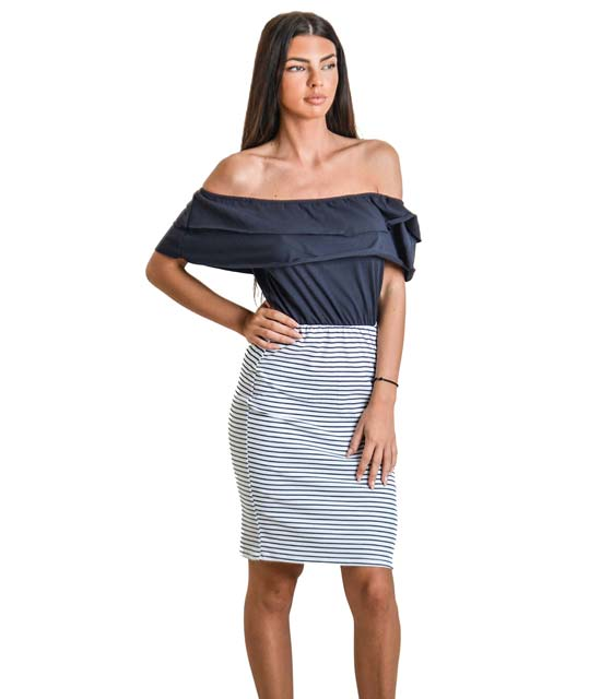 Μπλε ριγέ φόρεμα με βολάν (Μεγάλη ρίγα)