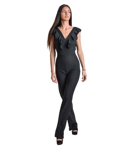 Ολόσωμη φόρμα με βολάν και φερμουάρ (Μαύρο)