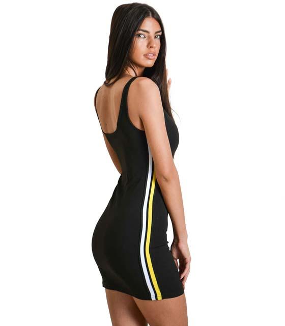 Μαύρο μίνι φόρεμα με κίτρινη και λευκή ρίγα στο πλάι