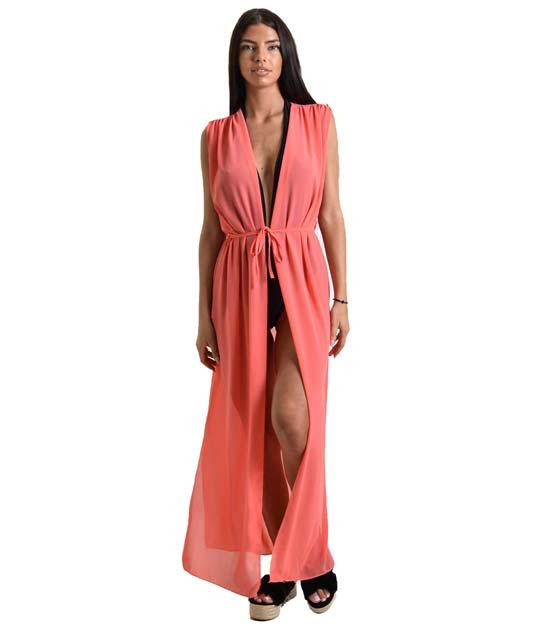 Κιμονό μάξι με άνοιγμα στο πλάι (Κοραλί) ρούχα   μπλούζες   top   κιμονό