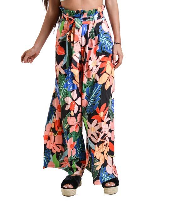 Ψηλόμεση παντελόνα φλοράλ με ζώνη (Μαύρο)