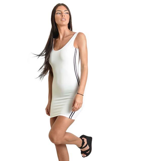 Μίνι εφαρμοστό φόρεμα με ανοιχτή πλάτη και ρίγες στο πλάι (Λευκό) ρούχα   φορέματα