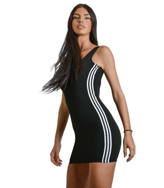 Μίνι εφαρμοστό φόρεμα με ανοιχτή πλάτη και ρίγες στο πλάι (Μαύρο) ρούχα   φορέματα