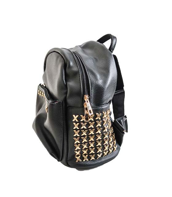 Τσάντα πλάτης μαύρη με χρυσές χιαστή λεπτομέρειες