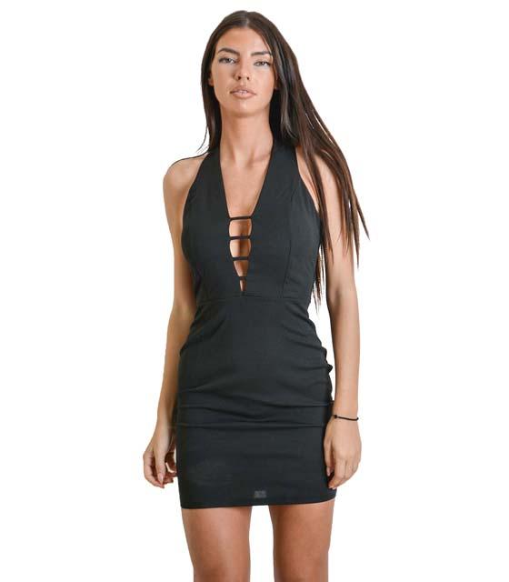 Μίνι φόρεμα με λωρίδες και κουμπιά στο λαιμό (Μαύρο)