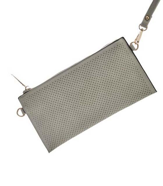 Τσάντα ώμου φάκελο με τρυπητό σχέδιο και χρυσό φερμουάρ (Γκρι)