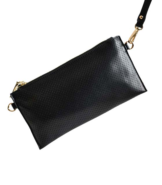 Τσάντα ώμου φάκελο με τρυπητό σχέδιο και χρυσό φερμουάρ (Μαύρο)