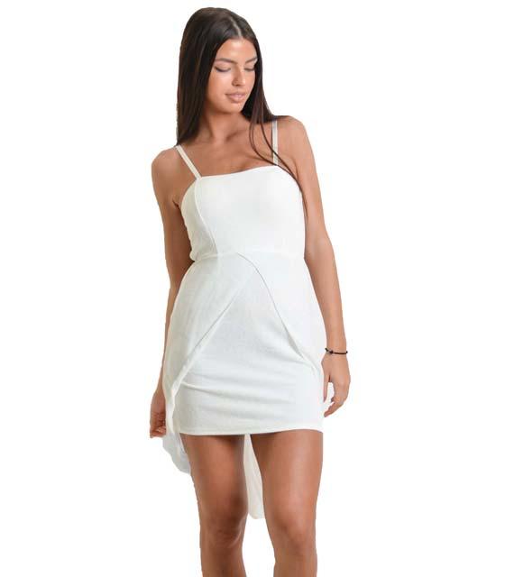 Μίνι φόρεμα με ουρά και τιράντες (Λευκό)