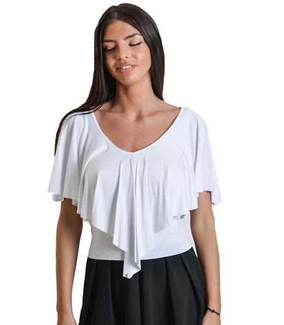 Λευκό τοπ με βολάν ρούχα   μπλούζες   top   τοπάκια   μπουστάκια