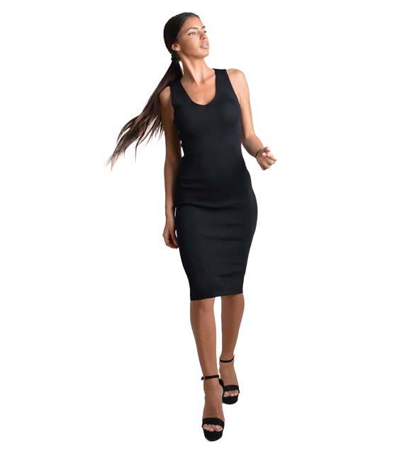 Αμάνικο φόρεμα πλεκτό με δέσιμο στην πλάτη (Μαύρο)