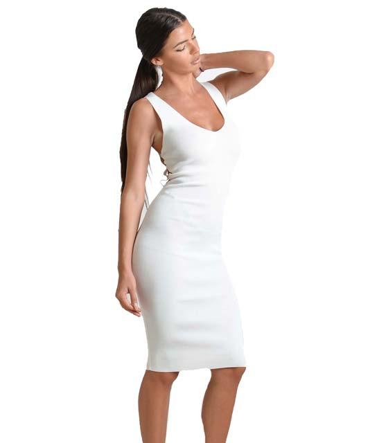 Πλεκτό φόρεμα με σχέδιο πλέγμα (Λευκό) ρούχα   πλεκτά