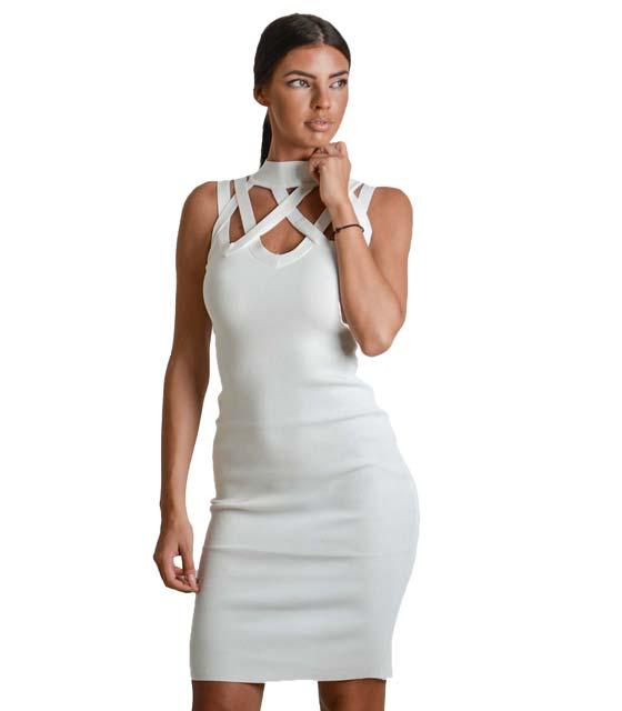 Πλεκτό φόρεμα με λωρίδες (Λευκό)