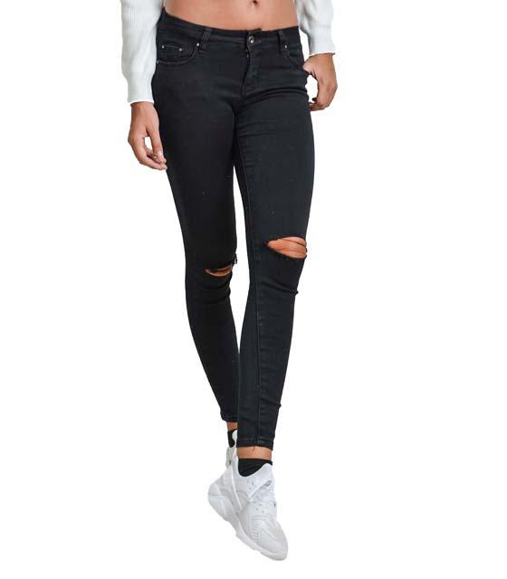 Μαύρο τζιν με σκισίματα στα γόνατο