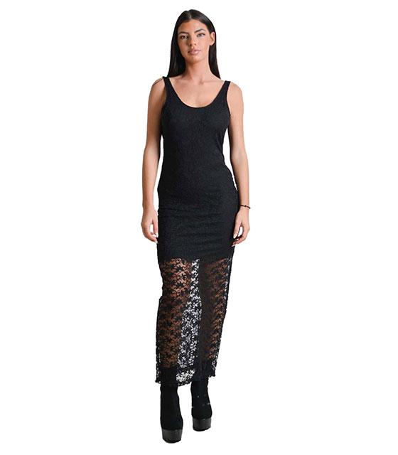 Μάξι φόρεμα δαντελένιο (Μαύρο) ρούχα   φορέματα