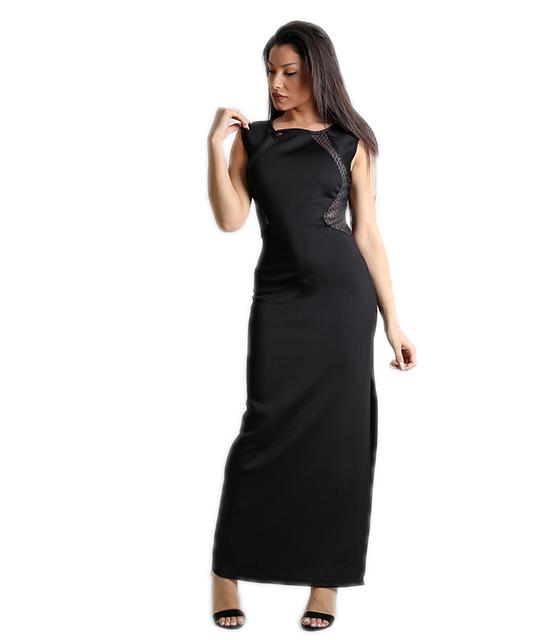 Μάξι φόρεμα με σκίσιμο στο πλάι και φερμουάρ (Μαύρο) ρούχα   φορέματα