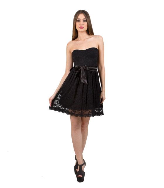 Φόρεμα στράπλες δανδέλα και εμπρός φιόγκο