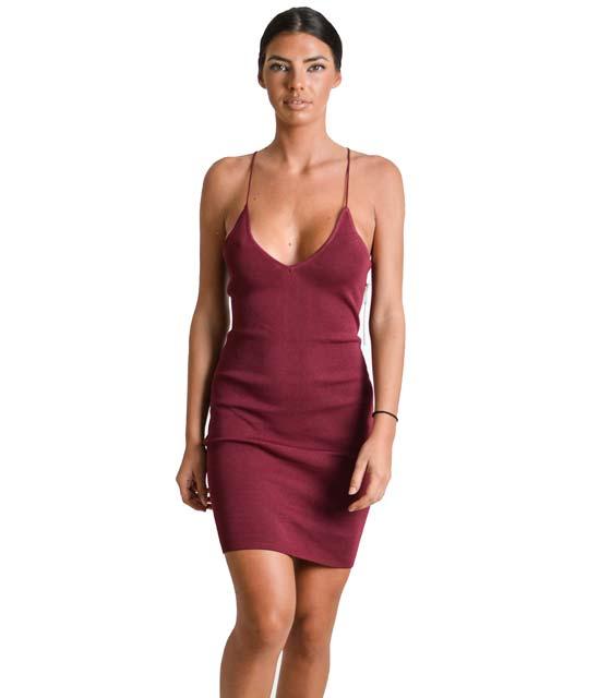 Μίνι φόρεμα με δέσιμο στο στήθος και τιράντες (Μπορντό)