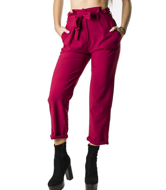 Ψηλόμεσο παντελόνι με ζώνη (Μπορντό)