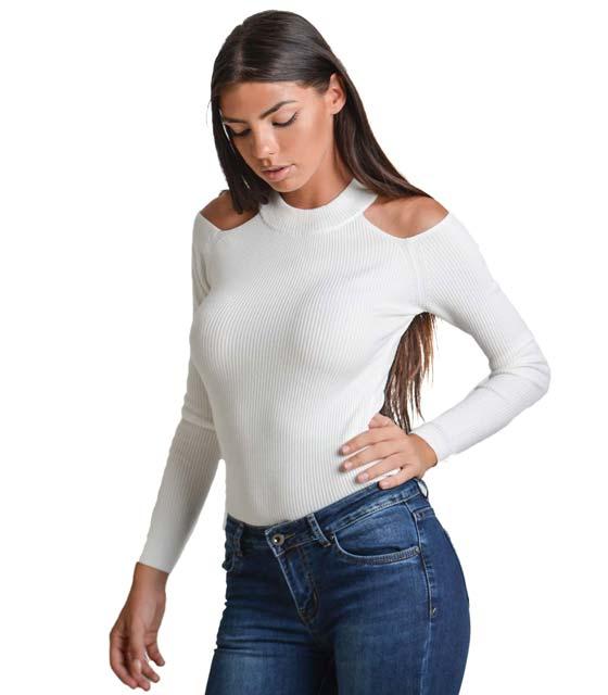 Μπλούζα bardot σε ύφανση ριπ με τσόκερ (Λευκό)