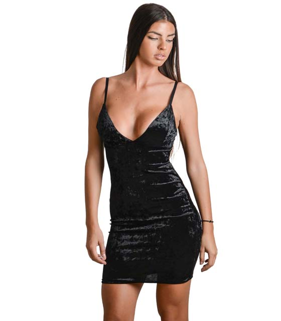 Φόρεμα από βελούδο με τιράντες (Μαύρο) ρούχα   φορέματα