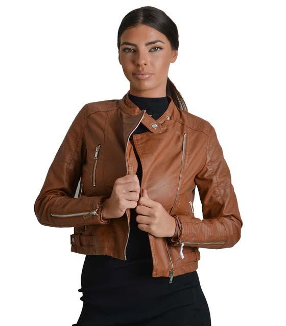 Κάμελ jacket δερματίνη με φερμουάρ στο πλάι και κούμπωμα