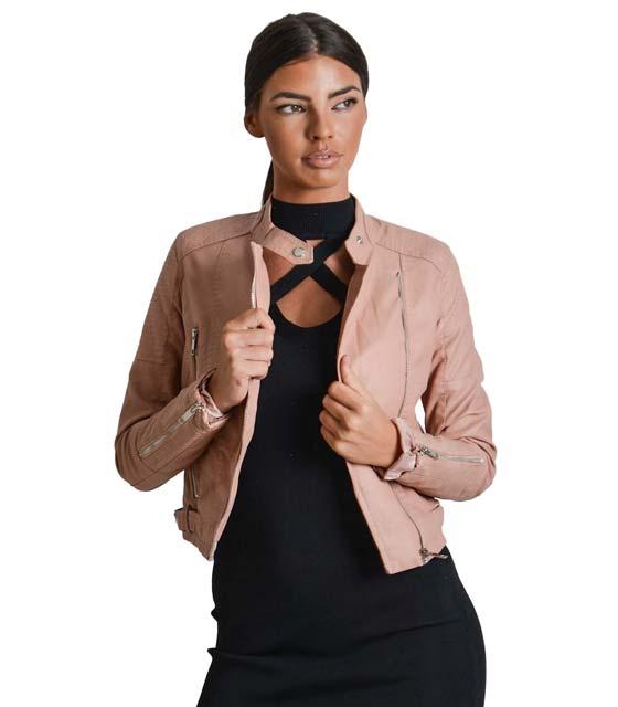 Ροζ jacket δερματίνη με φερμουάρ στο πλάι και κούμπωμα