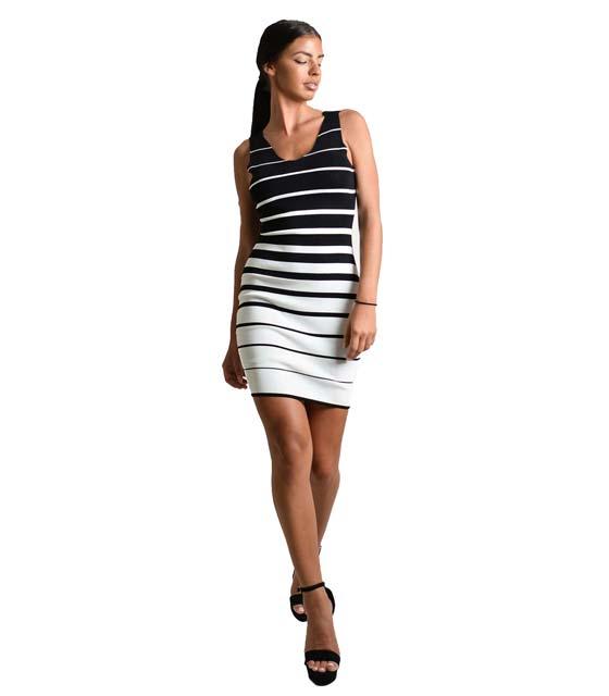 Εφαρμοστό ριγέ πλεκτό φόρεμα (Μαύρο-Λευκό)