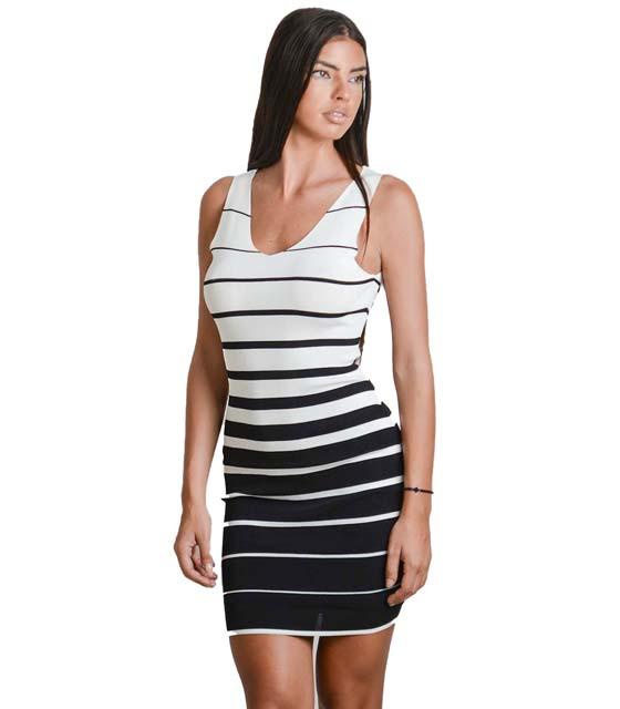 Εφαρμοστό ριγέ πλεκτό φόρεμα (Λευκό-Μαύρο)