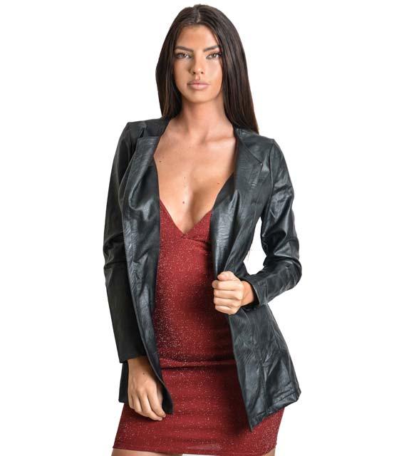 Μακρύ jacket δερματίνη Μαύρο