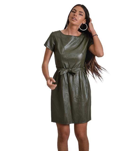 Χακί φόρεμα δερματίνη με ζώνη στην μέση ρούχα   φορέματα