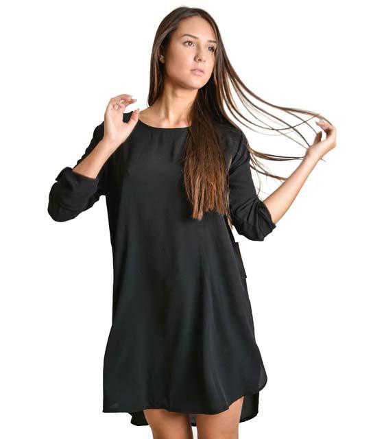 Φόρεμα-Πουκάμισο μακρύ με πατ μανικιών (Μαύρο)