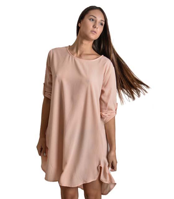Φόρεμα-Πουκάμισο μακρύ με πατ μανικιών (Ροζ)