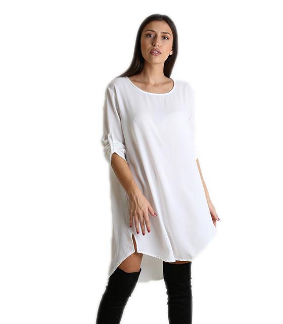 Φόρεμα-Πουκάμισο μακρύ με πατ μανικιών (Λευκό)