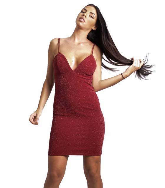 Μίνι λούρεξ φόρεμα με τιράντα (Μπορντό)