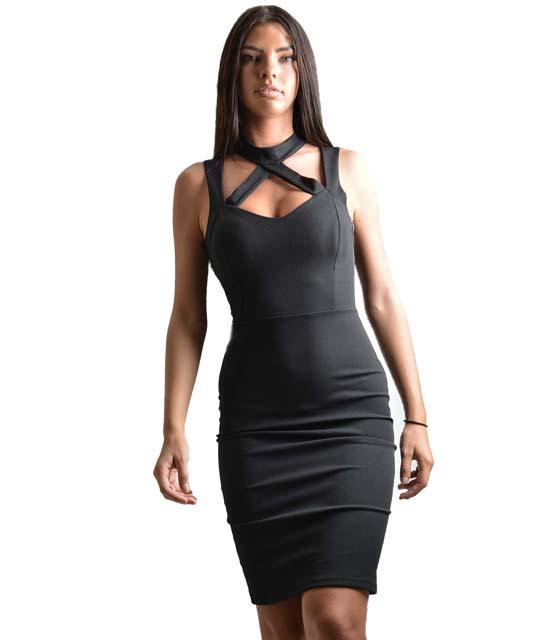 Μαύρο midi εφαρμοστό φόρεμα με λωρίδες και τσόκερ
