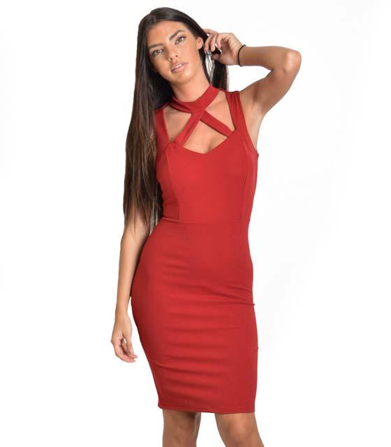 Μπορντό midi εφαρμοστό φόρεμα με λωρίδες και τσόκερ