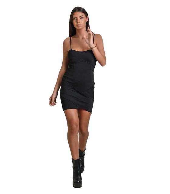 Μαύρο εφαρμοστό φόρεμα στράπλες