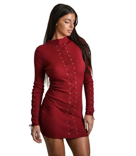 Φόρεμα πλεκτό μακρυμάνικο με κορδόνια χιαστή (Μπορντό)
