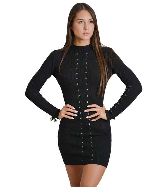 Φόρεμα πλεκτό μακρυμάνικο με κορδόνια χιαστή (Μαύρο)