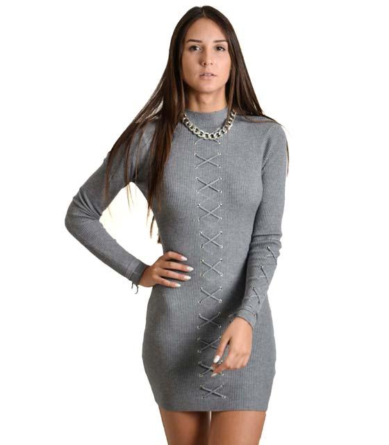 Φόρεμα πλεκτό μακρυμάνικο με κορδόνια χιαστή (Γκρι)