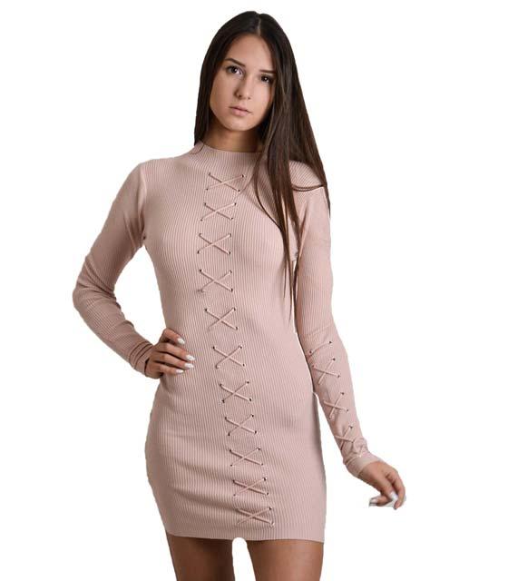 Φόρεμα πλεκτό μακρυμάνικο με κορδόνια χιαστή (Ροζ)