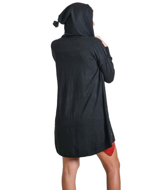 Μαύρη ζακέτα πλεκτή με κουκούλα και τσέπες