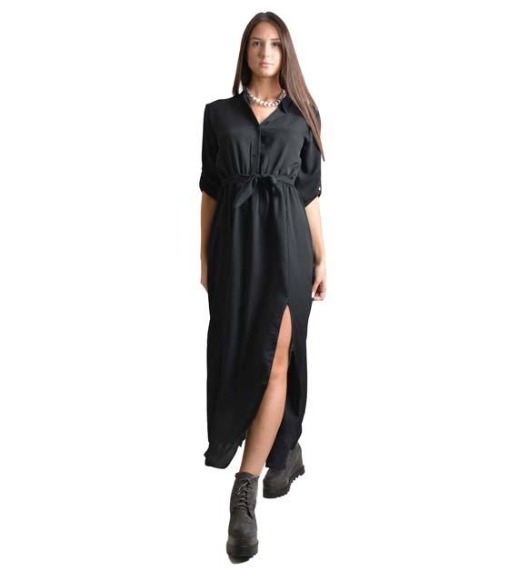 Μάξι φόρεμα με κουμπιά,ζώνη και πατ μανικιών (Μαύρο)
